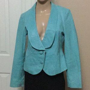 Light blue genuine leather jacket